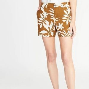 Mid-Rise Printed Linen-Blend Everyday Shorts New